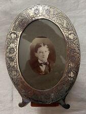 """Vintage Plated Metal Desktop Picture Frame Oval Ornate Floral Marked Silver? 7"""""""