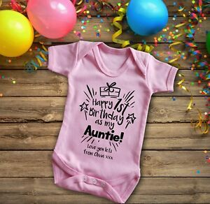 Happy 1st birthday as my Auntie pink Short sleeve baby grow