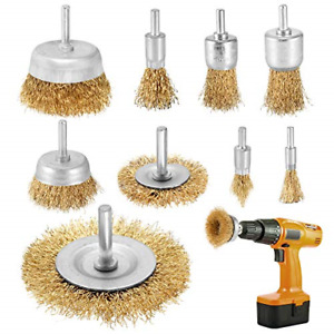 9pcs Rotary Wire Brush for Drill Attachment Brass Coated Copper Wire Wheel Cup