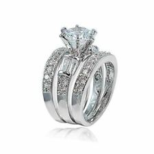 Women's 925 Sterling Silver Wedding Band Princess Bridal Engagement Ring 3pc Set