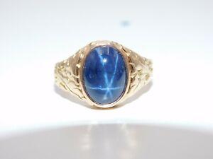 Men's Vintage 14k Yellow Gold 5.0 Cabochon Cut Star Sapphire  Ring Designer
