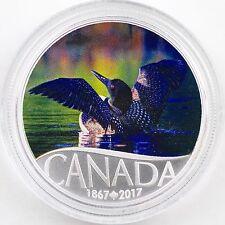 2017 $10 Celebrating Canada's 150th: Common Loon, Pure Silver Color Matte Proof