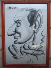 vecchio quadro caricatura disegno a carboncino UOMO SEDUTO SUL WATER CLOSET WC