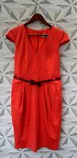 NEXT CAP SLEEVE BELTED KNEE LENGTH DRESS SIZE UK 12 - E1 - EVENING / OFFICE