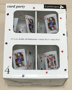 Luminarc Card Party 13.25 Oz. Double Old Fashioned Glass Set Game Night Set of 4