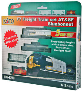 Kato N Scale 4 Car Freight Train Set with ATSF F7A Locomotive DCC Ready 1066273
