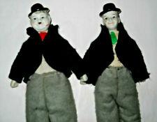 """Lot of 2 Vintage LAUREL AND HARDY 9"""" Porcelain Figures DOLLS Ceramic Figurines"""