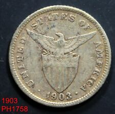 PHILIPPINES 20 Centavos 1903 circulated 90% silver coin FREE SHIPPING IN U. S.