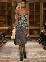 NWT $7,700 CHRISTIAN DIOR Runway embroidered printed silk dress Size 38