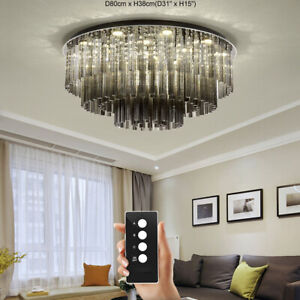Smoke Gray Plum Glass Pipe K9 Crystal Black Titanium Stainless Steel chandelier