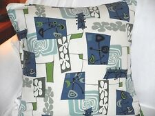 RETRO! Hawaiian 100% Cotton Barkcloth Fabric Pillow SLIPCOVER ~Daddy-O-Cream~