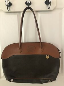 Vint. Mulberry Leather Satchel Bag Two-tone Made in England Authentic #933068