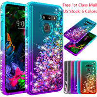 For LG G8 ThinQ/G820 Shockproof Diamond Liquid Glitter Bling Rubber Clear Case