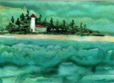 ACEO Stormy Seas & Lighthouse Original Watercolor on Yupo Painting by Kay Fuller