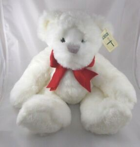 """First & Main Ted Jr Bear Plush White Red Bow 18"""" Stuffed Animal toy"""
