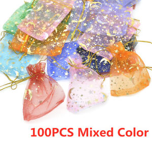 100Pcs Moon Star Organza Gift Bags Wedding Jewelry Drawstring Party Pouches