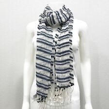 Juicy Couture Womens Striped Scarf 100% Cotton White Navy  Rectangle