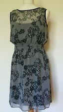 Be Beau Floral Lace Effect Dress Black & Ivory Separate Black Underslip. Size 8