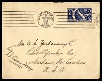 FRANCE SEINE SS QUEEN MARY OCTOBER 9 1936 SINGLE FRANKED COVER TO DURHAM NC USA