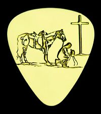 Praying Cowboy - Solid Brass Guitar Pick, Acoustic, Electric, Bass