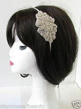 Silver Beaded Rhinestone Headband Bridesmaids Bridal Vintage 1920s Ivory 30s R47