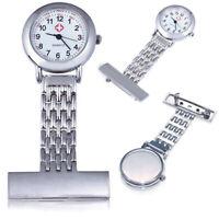 HOT SALE Stainless Steel Nurse Watch Quartz Silver Fob Pocket Brooch+2 BATTERIES