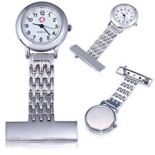 Stainless Steel Nurse Watch Quartz Silver Fob Pocket Brooch+2 Durable New