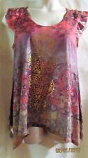 APT 9~Pink Multi ~Floral Print~Embellished Top~ Sharkbite Hem~Cap Sleeve~M~NWOT