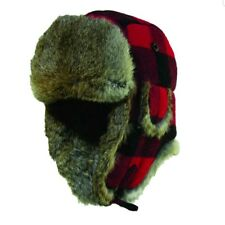 WOOLRICH RED BLACK PLAID Buffalo Check WOOL TROOPER HAT TRAPPER BOMBER Mens S/M