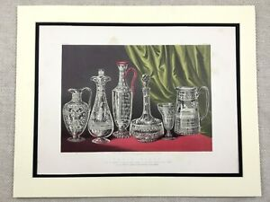 1862 Print Victorian Etched Glass Crystal Glassware Antique Chromolithograph