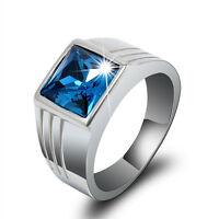 Luxury Mens Blue Sapphire Metal Fashion Wedding Ring Gift Size 7 8 9 10 11 FT