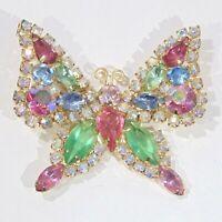 Vintage signed Kramer pastel multi color rhinestone large butterfly pin brooch