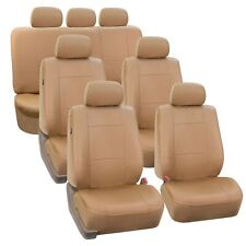 Premium PU Leather Tan 7Seater 3 Row Full Set Seat Covers Split Bench Auto Car