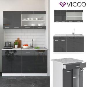 Küchenzeile Einbauküche Küche Anthrazit Hochglanz R-LINE Single 140 cm Vicco