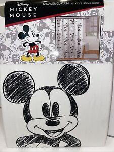 Disney Mickey Minnie Mouse 72 X 72 Cotton Shower Curtain White/Black Jay Franco