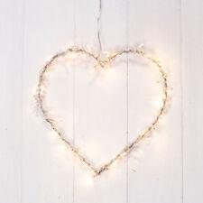 Metal Heart Wreath Dressed With Pearl Decorations 20 Warm Mini Bulb Fairy Lights