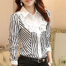 Women Lace Striped Blouse Turn-down Collar Blouses Official Shirt Formal Blouser One Size