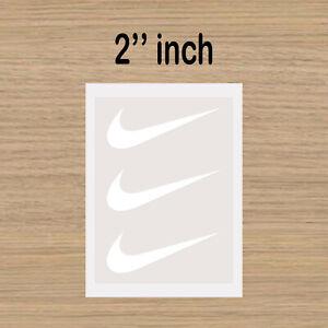 "3 White Nike 2"" Inch Iron On Swoosh Logos Heat Transfer Vinyl HTV"