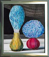 Michaela Krinner 1915-2006: Stilleben Blumen-Strauß in Vase Gemälde 1979, + Buch