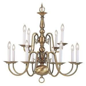 Livex Lighting Williamsburg Chandelier in Antique Brass - 5012-01