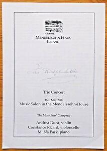 Trio Concert programme Music Salon Mendelssohn-House 16.05.2009 Andrea Duca