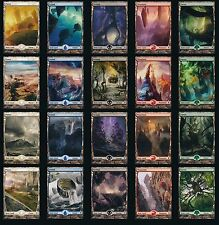 MTG ZENDIKAR COMPLETE LAND SET 20 FULL ART TEXTLESS BASIC LAND SET