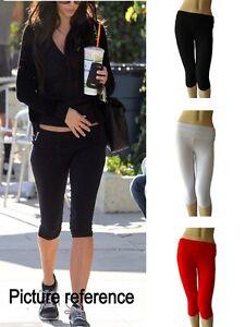 Women Cotton Spandex High Waist  Fold Over Yoga Capris leggings Crop S-3XL USA