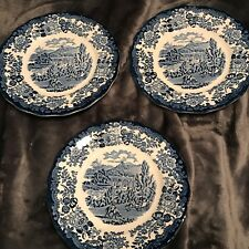 "3 Dinner Plates 8 5/8"" by Royal Worcester Ltd.-Avon Scenes Palissy England-1790"