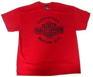 HARLEY DAVIDSON HD RED BAR AND SHIELD GENUINE OIL T-SHIRT SHORT SLEEVE SHIRT MEN
