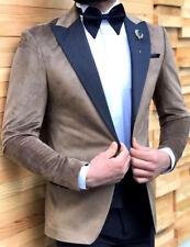 Designer Camel Braun Samt Smoking Hochzeitanzug Herrenanzug Tailliert Slim Fit