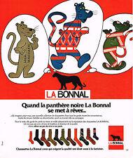 PUBLICITE ADVERTISING 084  1976  LA BONNAL  chaussettes  LA PANTHERE NOIRE