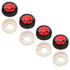 4 Black Custom License Plate Frame Screw Snap Caps Covers Red Skull Black