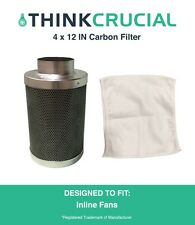 "4"" x 12"" Carbon Inline Fan Filter, Odor Control, 200 CFM, Part # GLFILT4M"