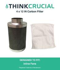 "4"" x 12"" Carbon Inline Fan Filter, Odor Control, 200 CFM, Part # GLFILT4M"